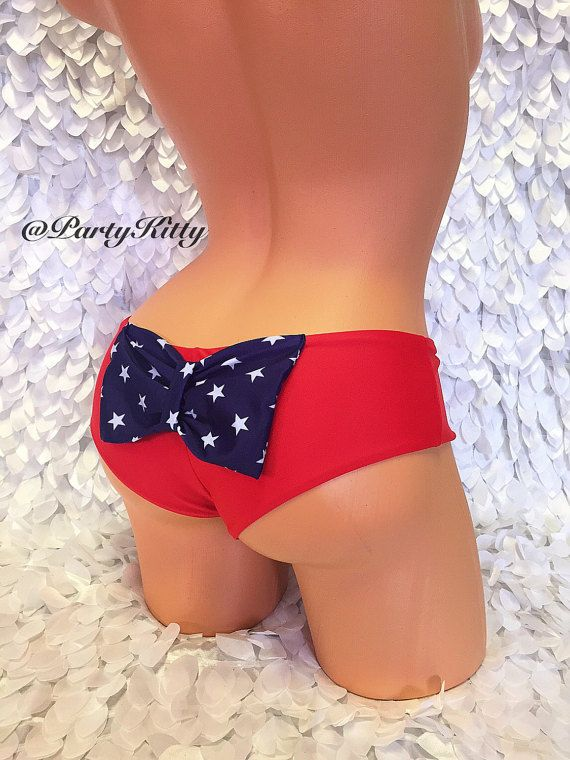 8c159745fe928 Cheeky Bow Booty Bikini Red White & Blue Flag Bathing Suit Bottoms  Patriotic 4th of July Booty Short