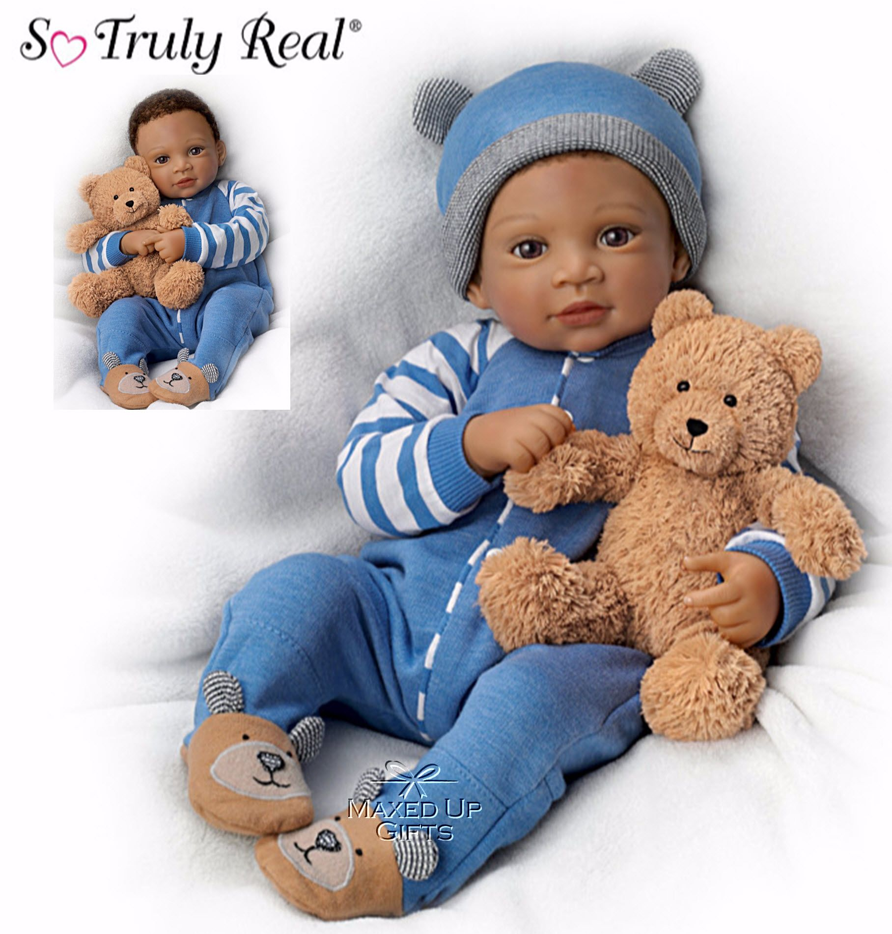Calvin Poseable Doll With Teddy Bear Real baby dolls