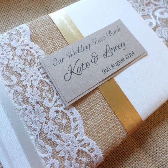 Jute Rustikale Weisse Hochzeit Gastebuch Personalisiert Rustikale