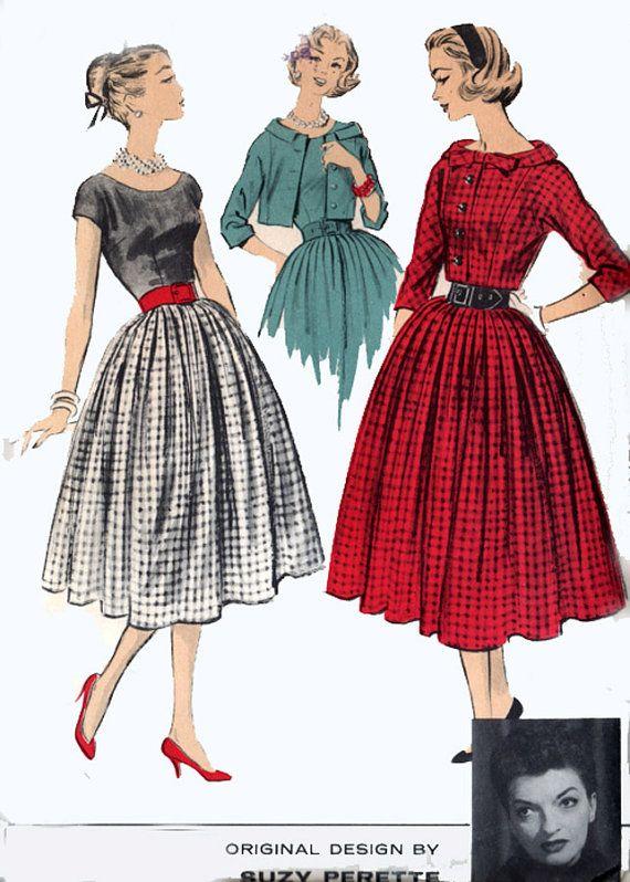 Vintage 50s Sewing Pattern Advance 8445 American Designer Suzy Perette Scooped Neckline Dress W Short Jacket Size 12 B 32 Vintage Fashion Vintage Dresses Scoop Neckline Dress