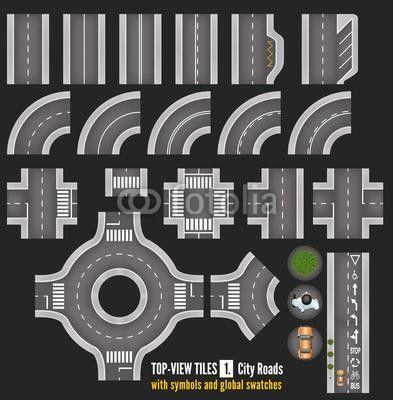 Set of Top View City Road Tiles   fantasiejotel ...