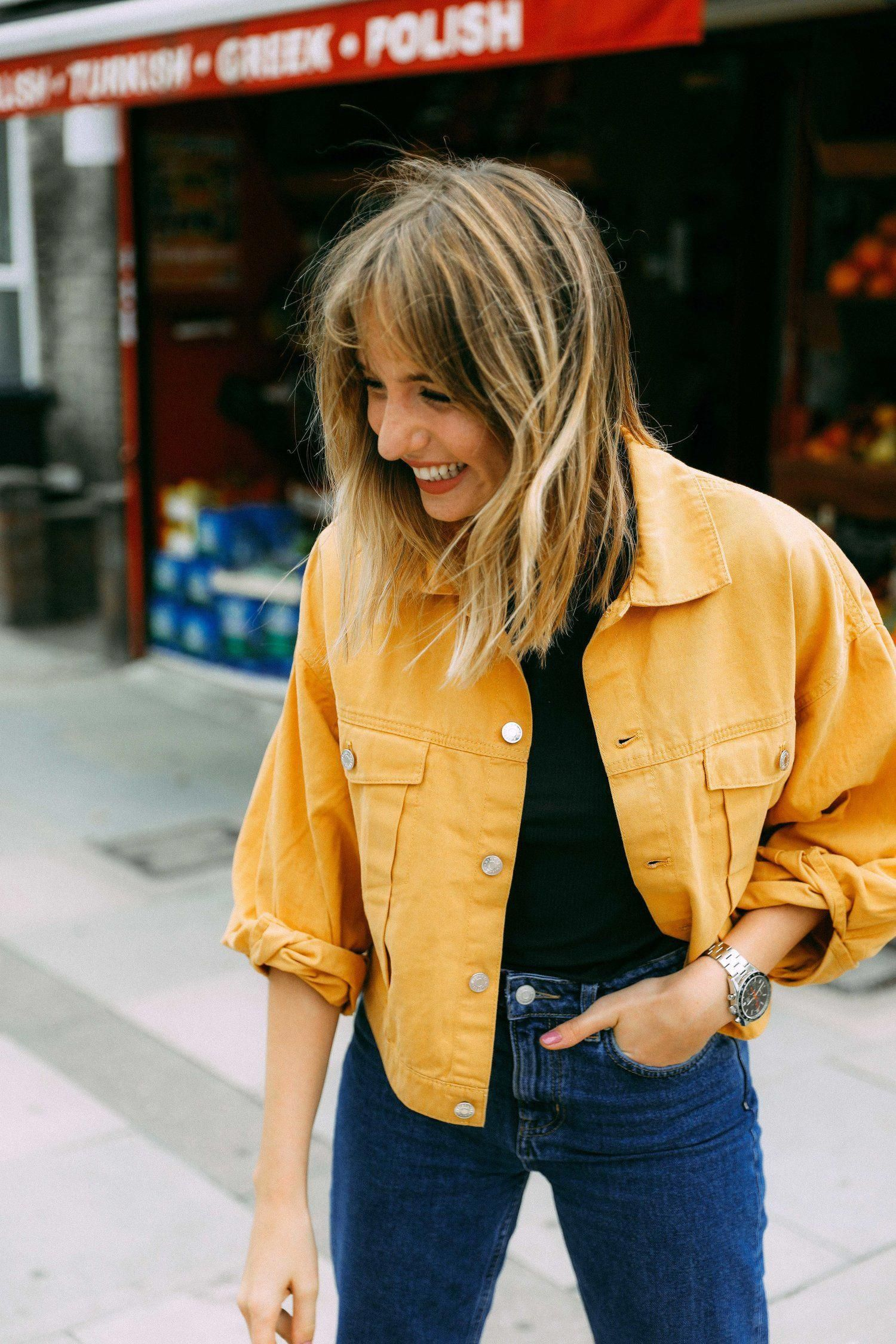 Denim Jacket Outfits Springoutfitswomen Transition Outfits Yellow Denim Jean Jacket Outfits [ 2250 x 1500 Pixel ]