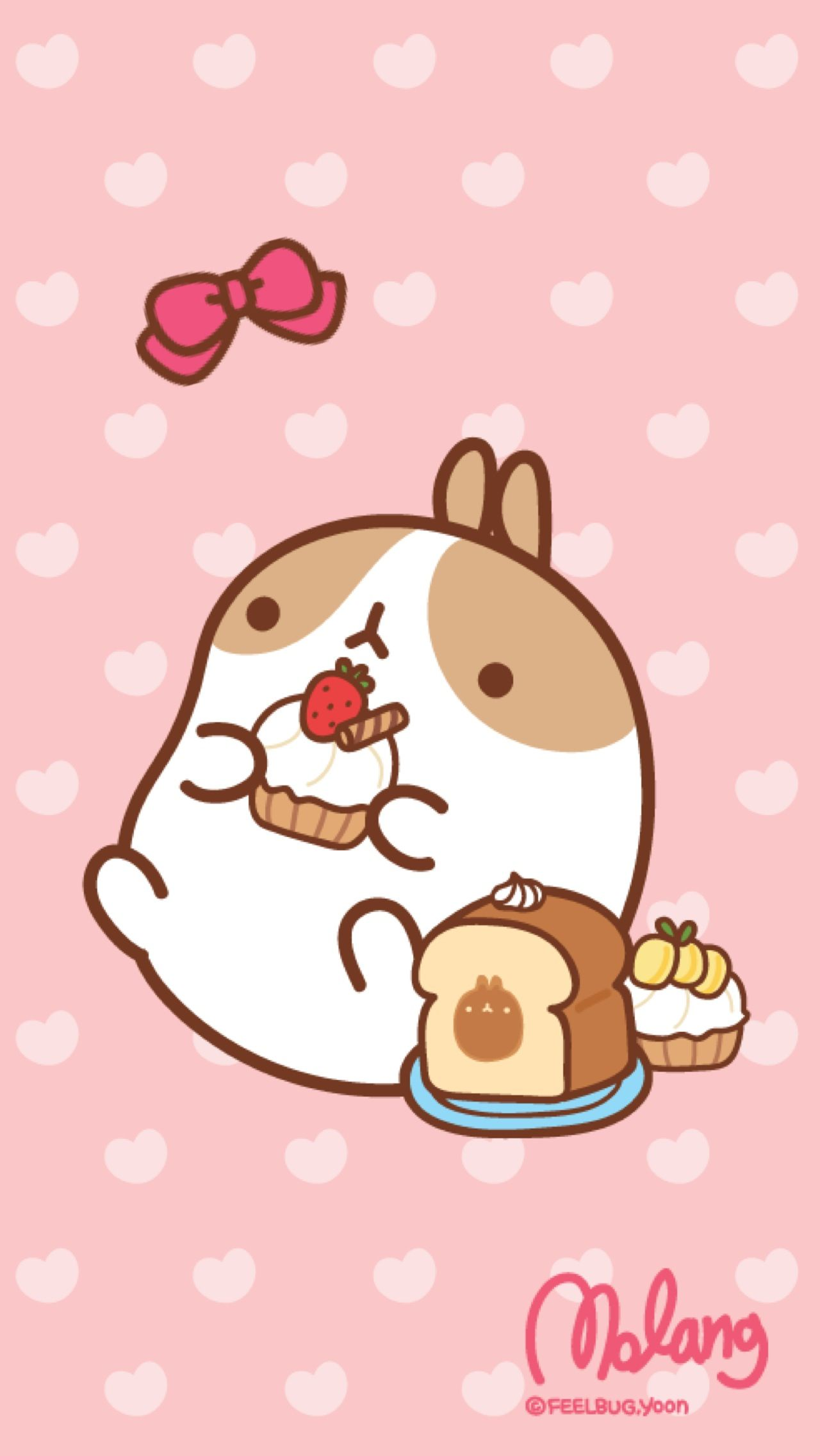 Molang cupcake lock screen kawaii cute pinterest - Kawaii food wallpaper ...