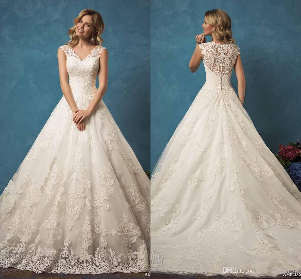 AMELIASPOSA 2017 Vintage V Neck Lace Wedding Dresses Sleeveless ...