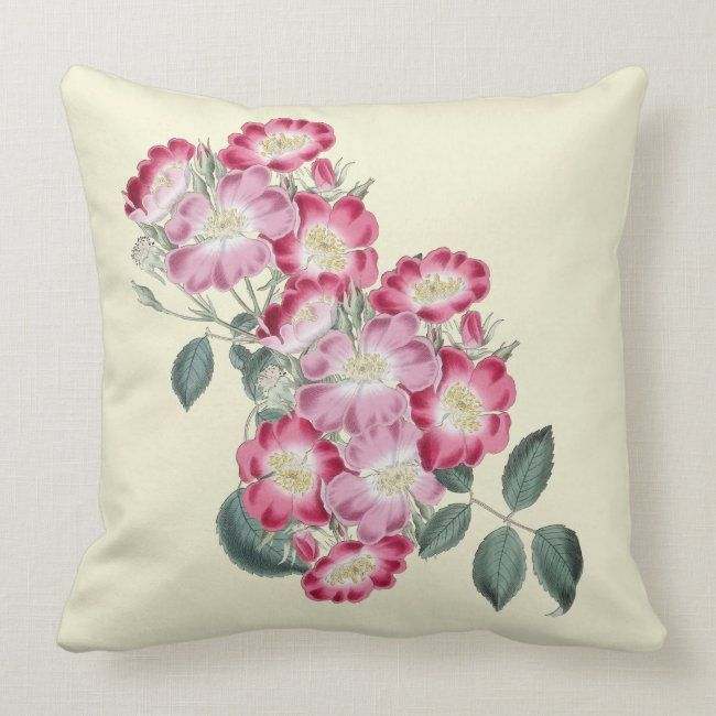 Wild Roses Botanical Indoor Pillow 20x20 #square #floral #roses #botanical #pink#botanical #gifts #gardenstyle #flowers #vintage #floral