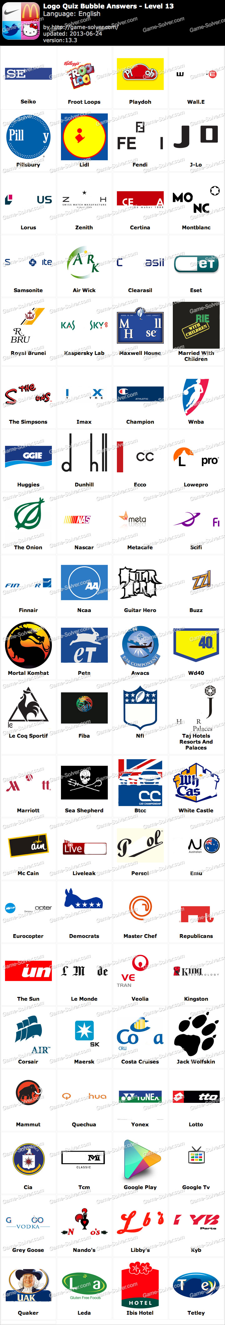 Logo Quiz Answers Level 13 : answers, level, Bubble, Answers, Level, Quiz,, Answers,, Guess