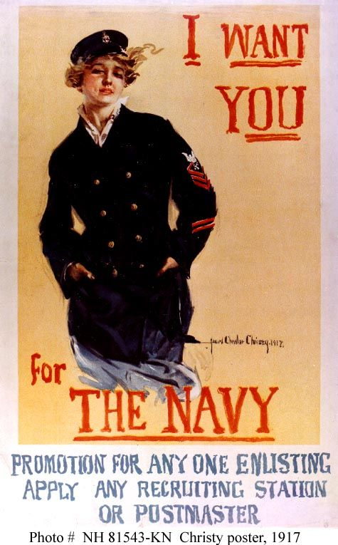 """U.S. """"Want You  for The Navy""""    World War I Navy Recruiting Poster, 1917 //by artist Howard Chandler Christy, Collections of the Library of Congress"""