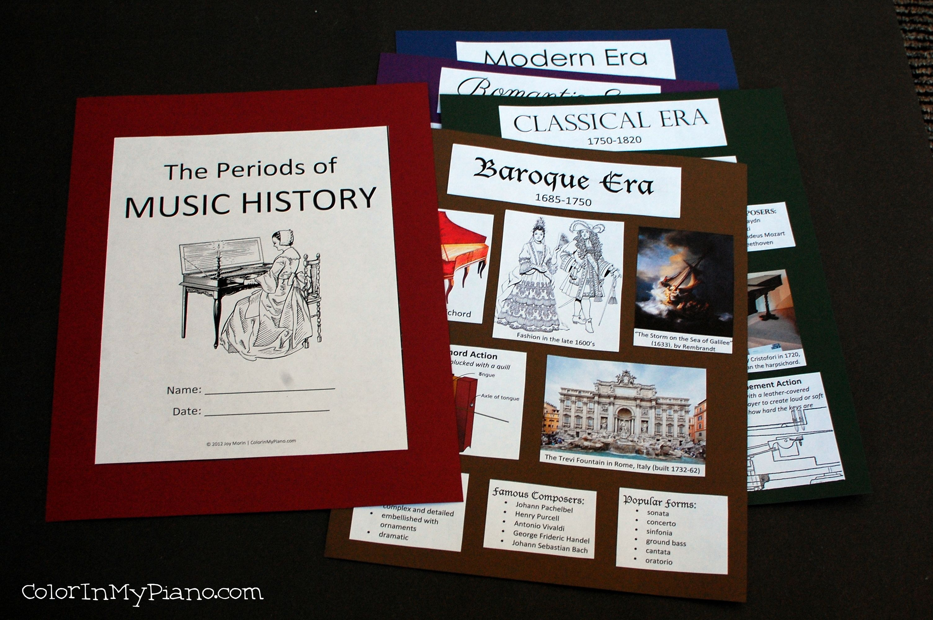 Free Music History Period pdf. {NICE - Lapbook or notebooking page waiting to be made}. This 5-page pdf contains pictures and information about the four main periods in the history of Western classical music (Baroque, Classical, Romantic, and Modern). Students can glue the pieces onto a pieces of cardstock paper (to be stapled into a booklet) or into a colored file folder.