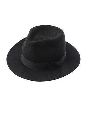 Black Unisex 100% Wool Fedora Hat