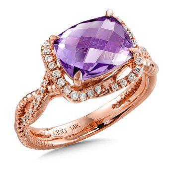 Amethyst & Diamond Ring in 14K Rose Gold