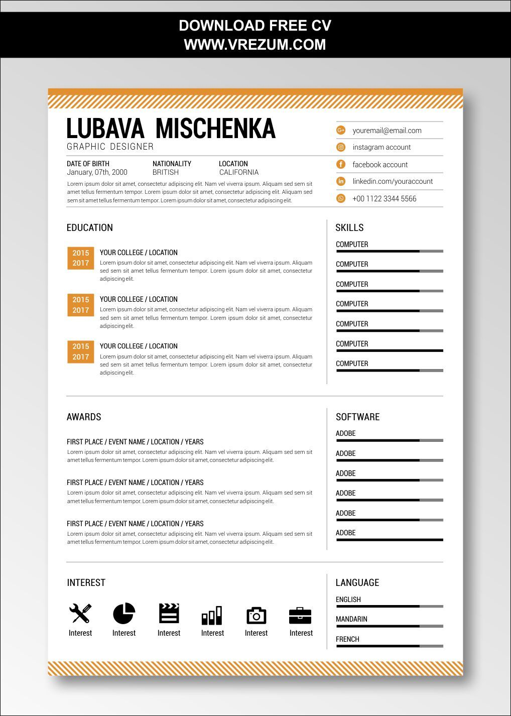 (EDITABLE) FREE CV Templates For Graduate With No