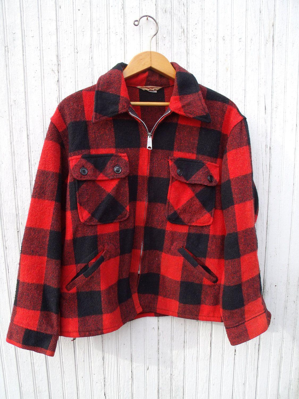 Vintage Mens Wool Buffalo Plaid Jacket Size Large Lumberjack