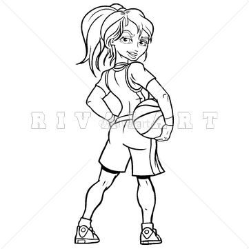 Sports Clipart Image Of Basketball Girl Holding Player Woman Womens Female Black White Http ...