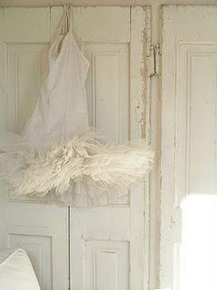 Vintage tutu on distressed panels...so cute...
