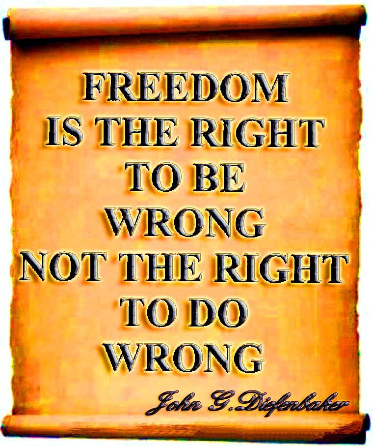 Freedom Is The Right To Be Wrong Not The Right To Do Wrong Picture Quote About Freedom By John G Diefenba Freedom Quotes Image Quotes Inspirational Quotes