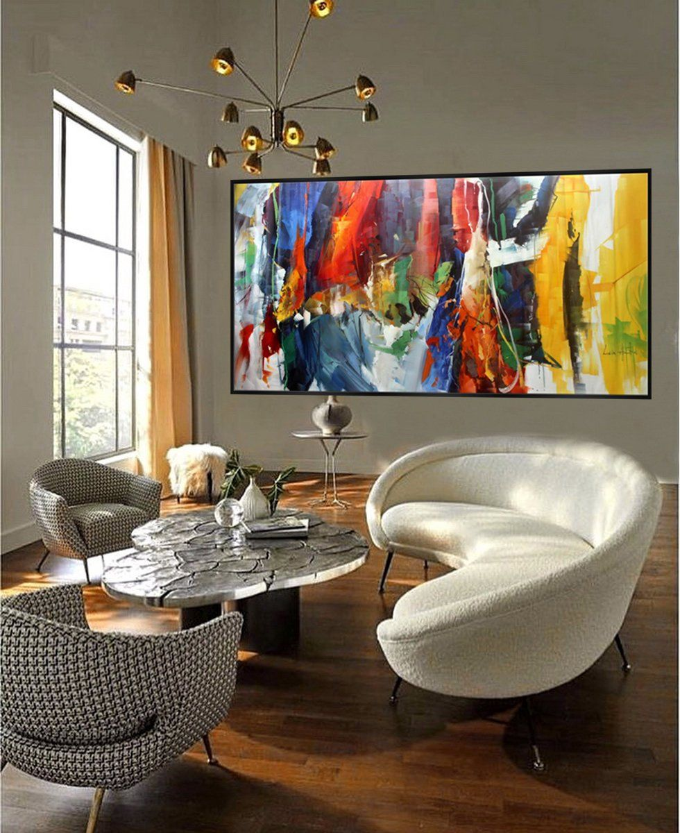 Bright Colorful Abstract Super Extra Large Oversize Panoramic