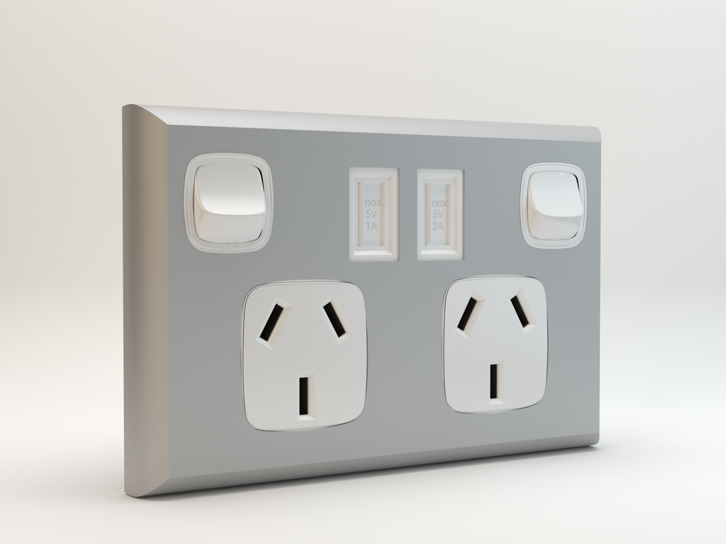 Twin Gpo With Twin Usb Ports Double 240v Powerpoint Gpo Switch Socket Twin Usb Charger Electrical Socket Silver Usb Design Usb Charging Powerpoint