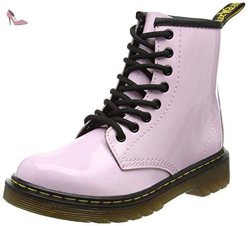 Dr. Martens Delaney, Boots mixte enfant - Noir (Black Patent Lamper) - 36 EU (3 UK)