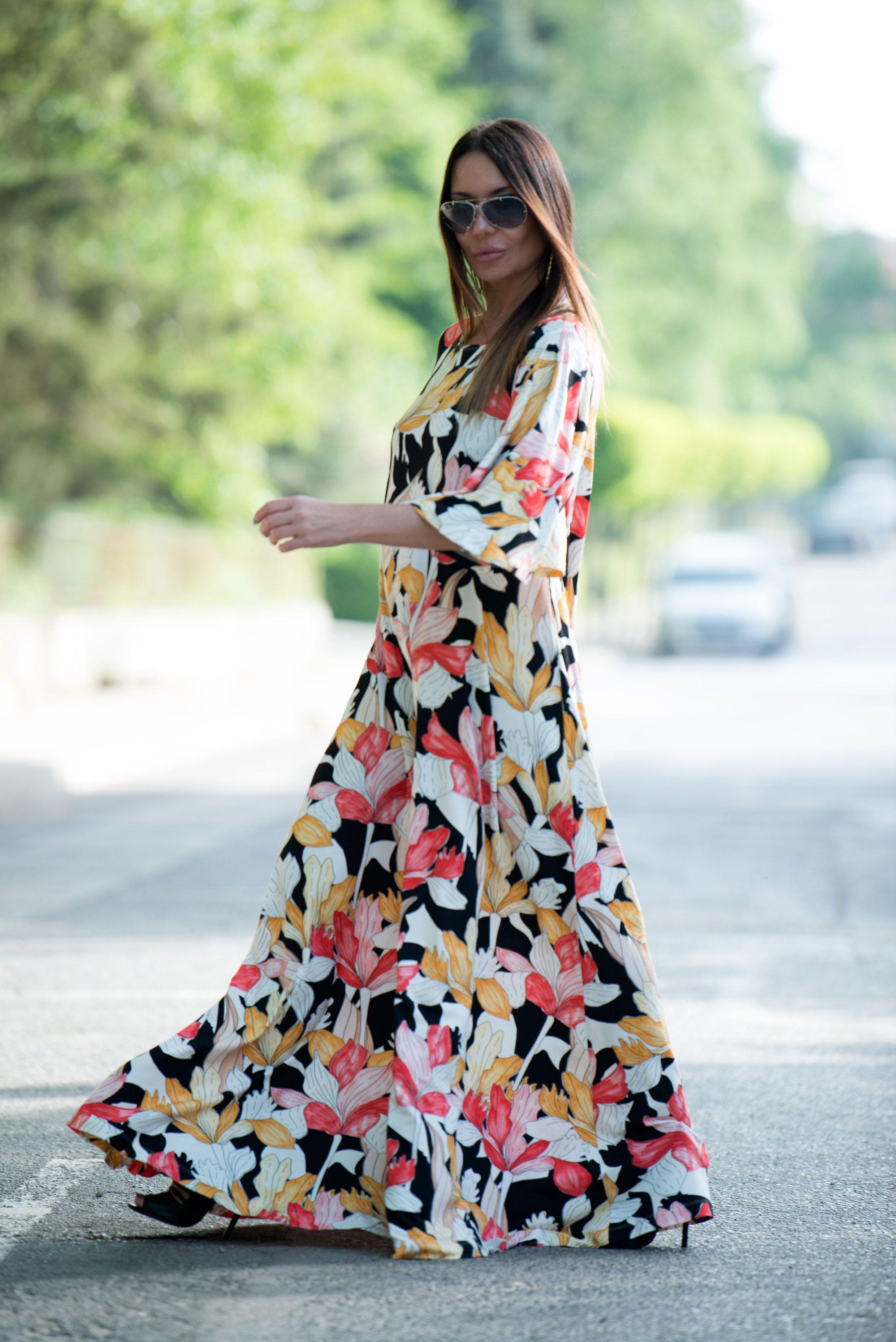 Flowers elegant long summer dress cotton maxi dress plus size