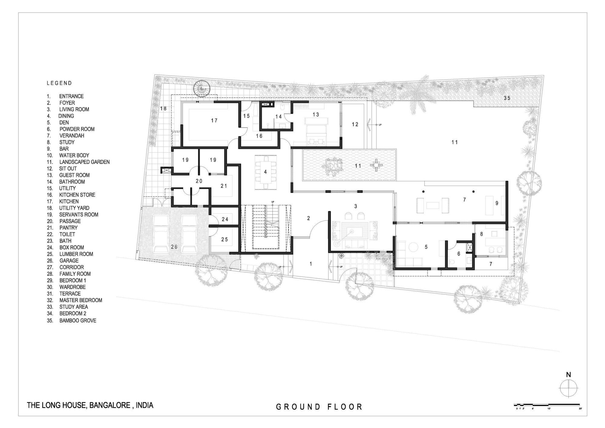 Gallery Of The Long House Khosla Associates 19 Long House Ground Floor Plan House Floor Plans