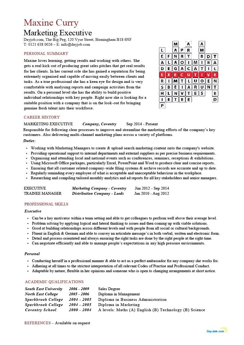 Marketing Executive Cv Crossword Resume Example Template Sales