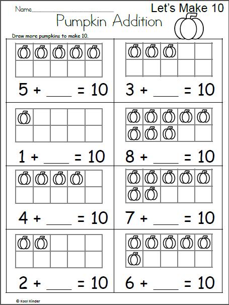 Pumpkin Addition Let S Make 10 Made By Teachers Addition Worksheets First Grade Kindergarten Addition Worksheets First Grade Math