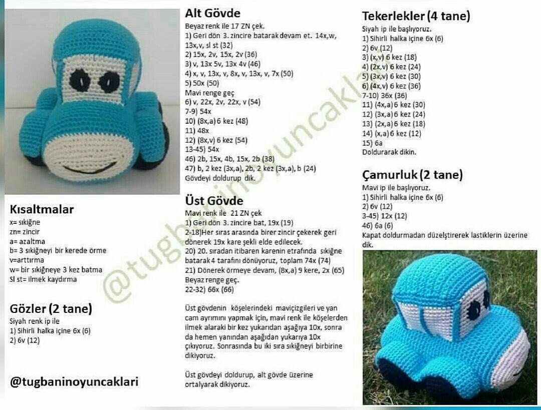 Amigurumi oyuncak mavi araba modeli yapılışı anlatımlı | Amigurumi ...