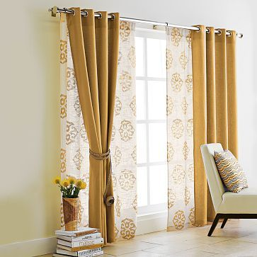 layered curtains & PIP of new bedding...what color paint? | Double curtain rods Double ...