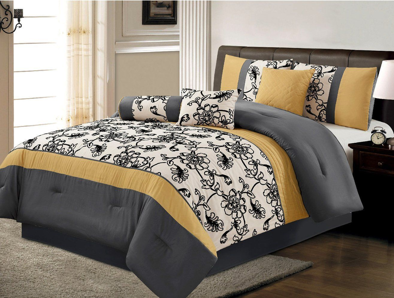 7 piece luxury yellow black white grey floral comforter set queen size bedding ease. Black Bedroom Furniture Sets. Home Design Ideas