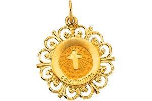 14K Gold Confirmation Medal in flower design