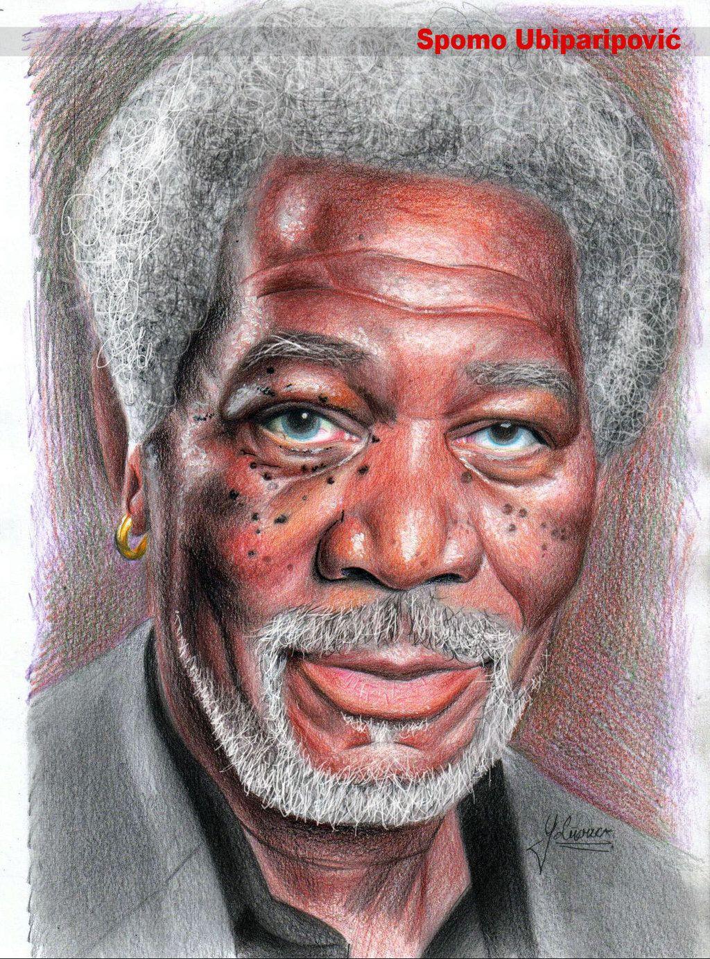 morgan freeman by spomo u on deviantart colored pencil art by spomenko ubiparipovic