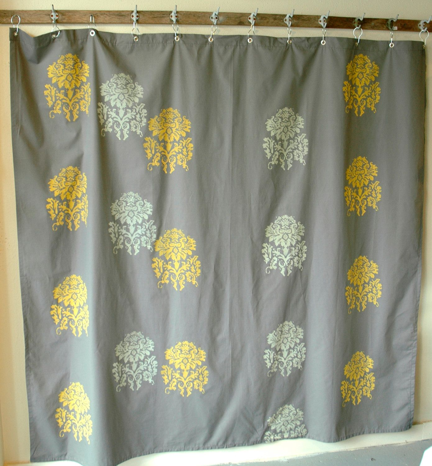 Shower curtaincharcoal grey with mantra print by appetitehome