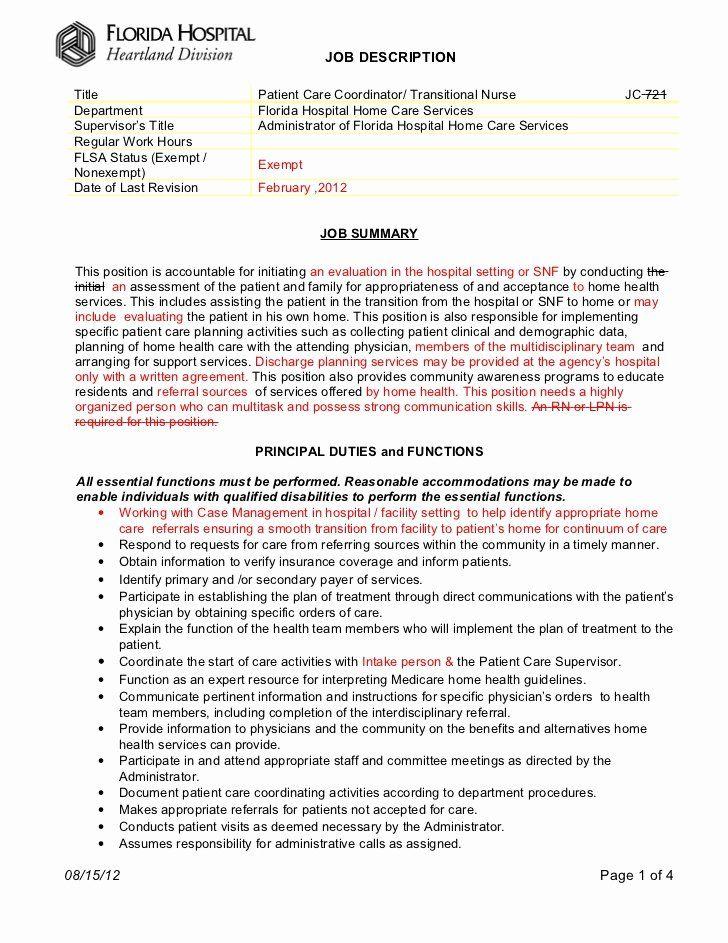 Patient care coordinator job description resume luxury