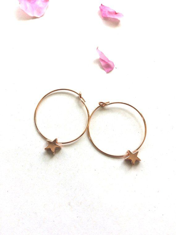 Rose Gold Star Hoops Jewellery Minimalist Earrings Hoop Gift For Her Xmas Idea Sleeper Wred Etsy Uk Hoopearrings