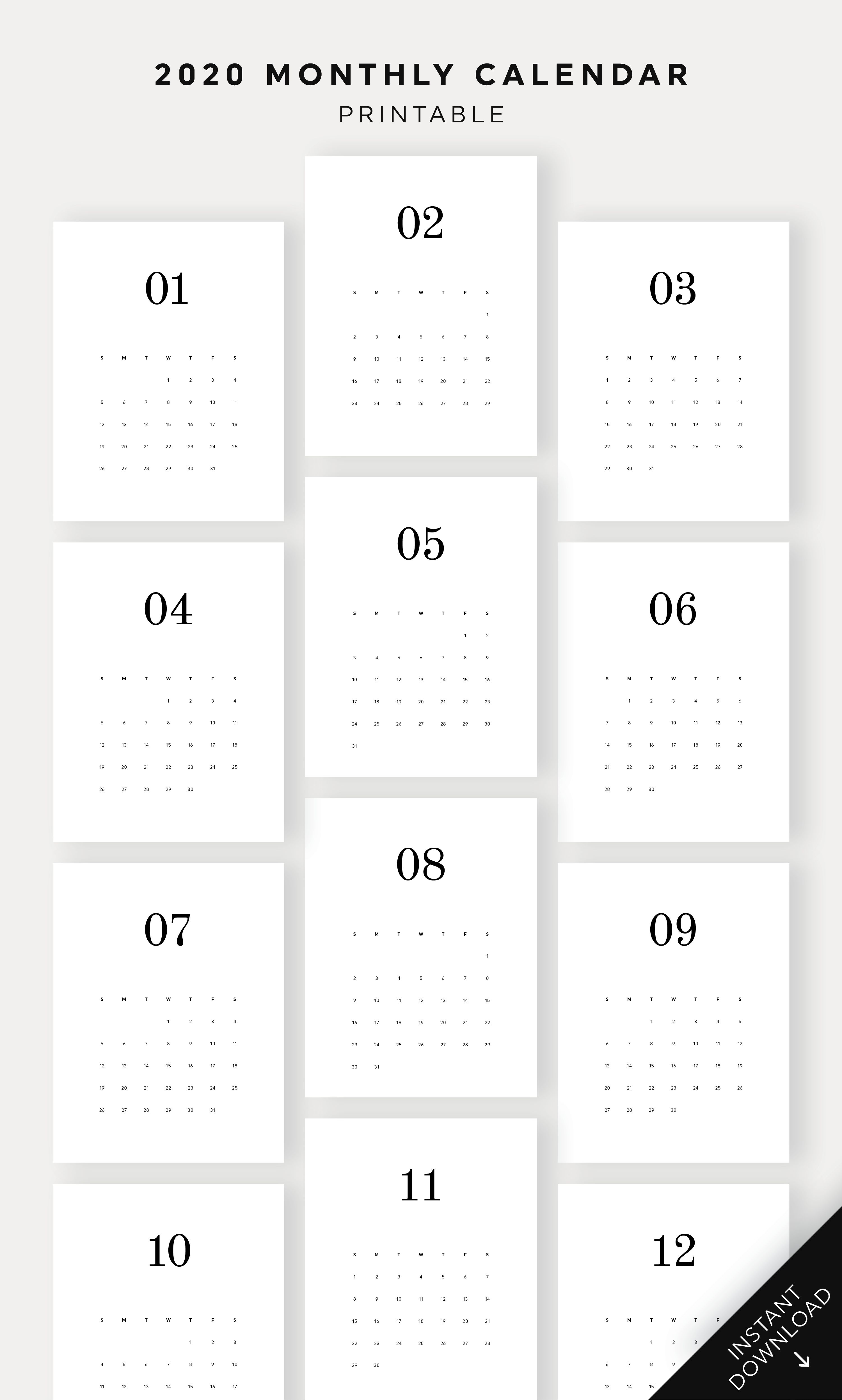 2020 Minimal Monthly Calendar Printable Monthly Planner Desk
