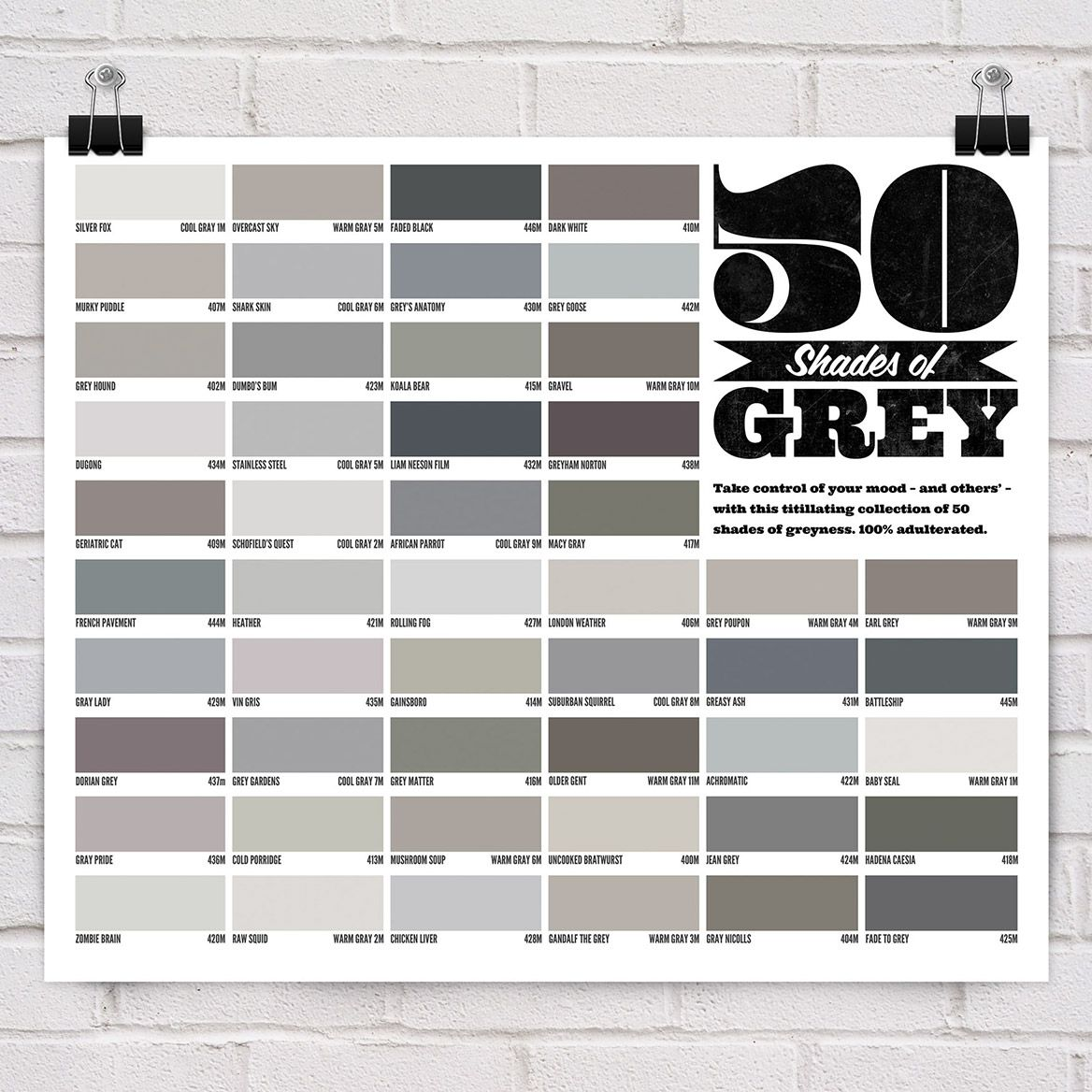 50 shades of grey poster 50 shades gray and pantone chart Shades of grey interior paint
