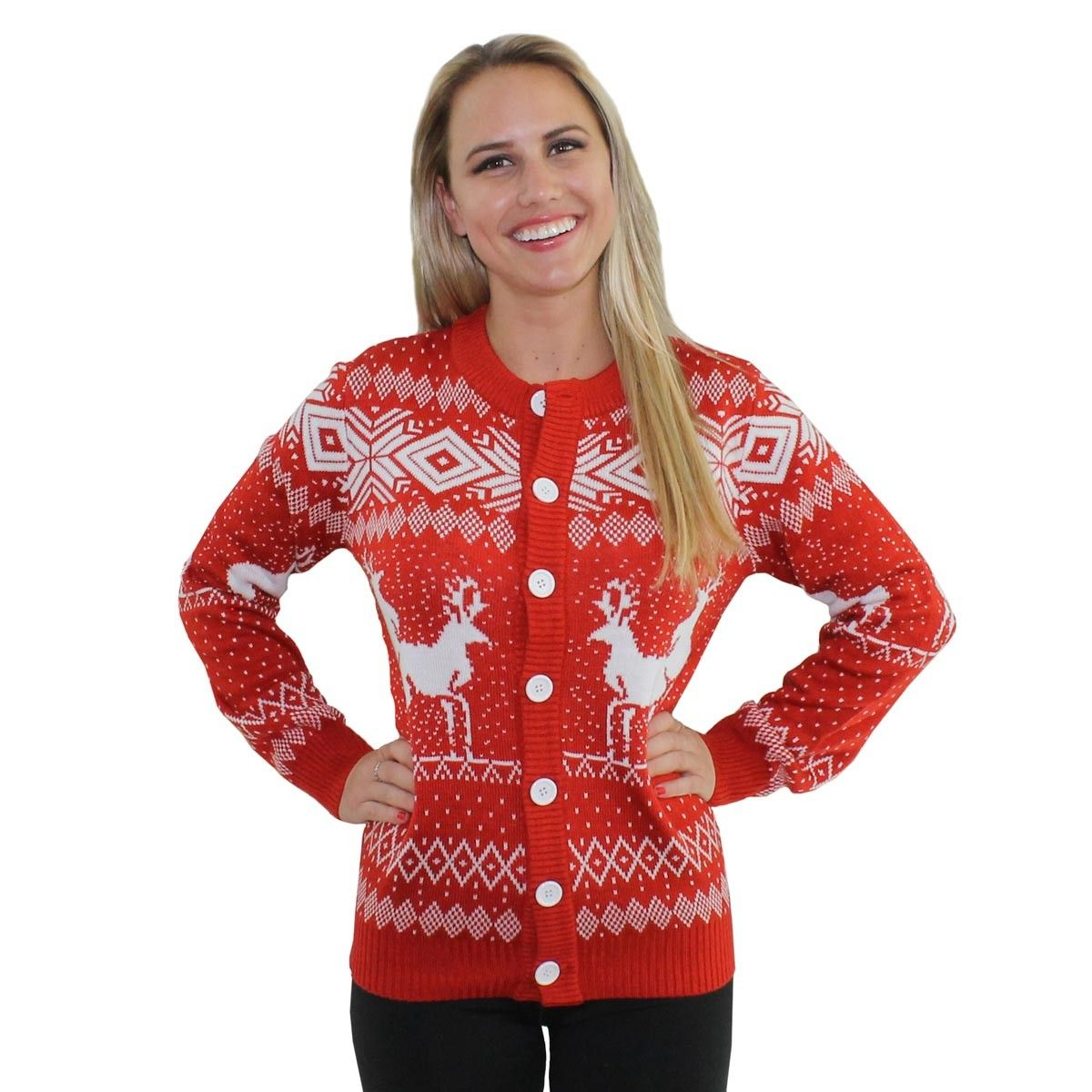reindeer double date red christmas cardigan tipsy elves 6495