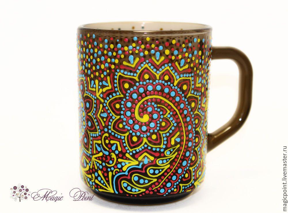 """Купить Кружка """"Монпасье"""" - разноцветный, монпасье, точечная роспись, кружка роспись, чашка роспись"""