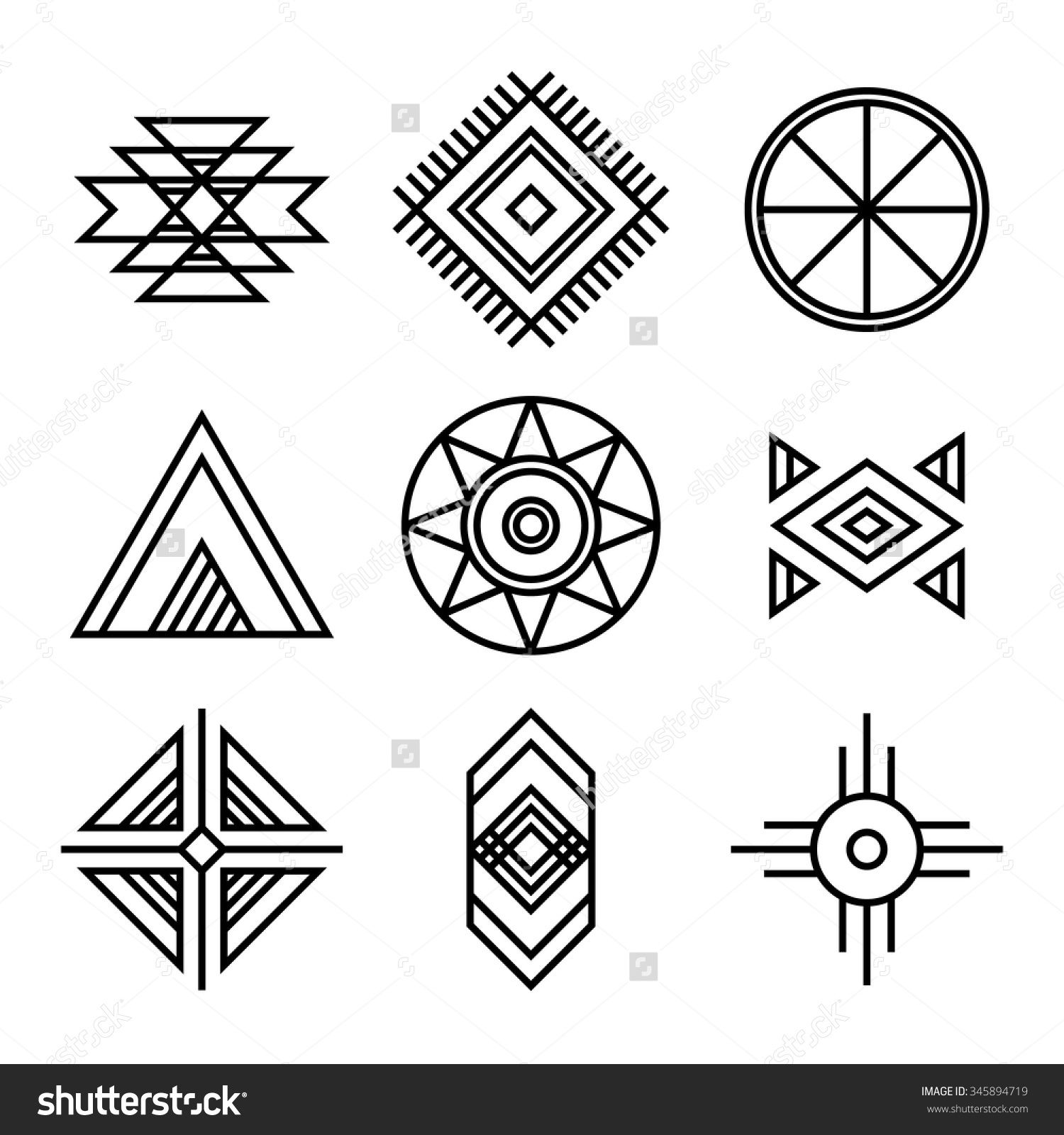 Native american indians tribal symbols set linear style native american indians tribal symbols set linear style buycottarizona