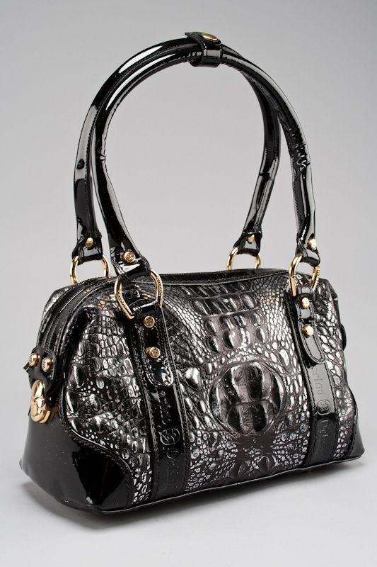 New Marino Orlandi Black Silver Croc Embossed Shoulder Bag