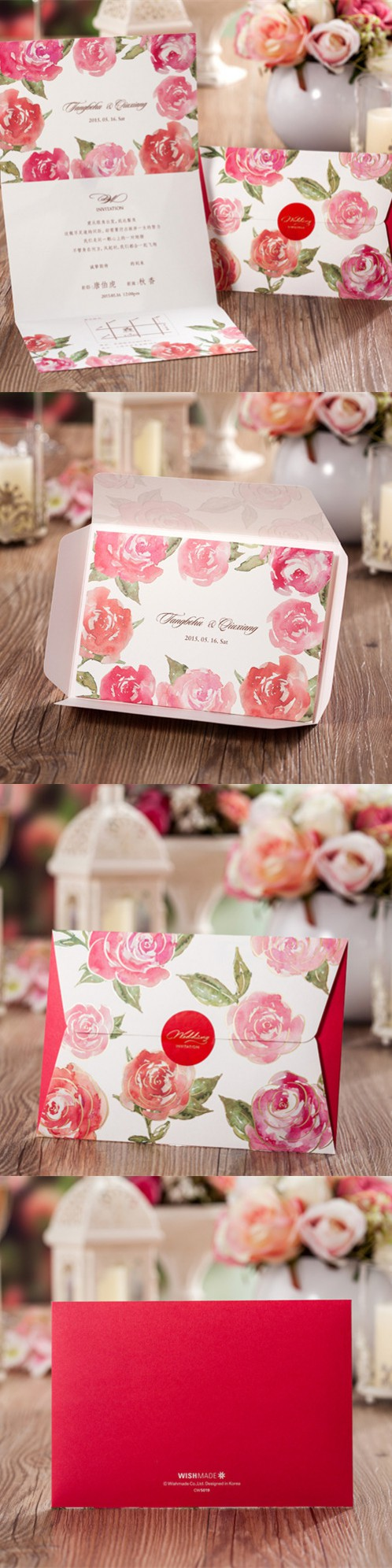 50 Sets Envelope Shape Red Rose Romantic Invitation Card For Wedding ...