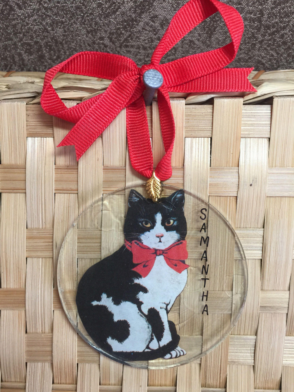 E073 New PERSONALIZED Cat Black White Kitten Cats Kittens