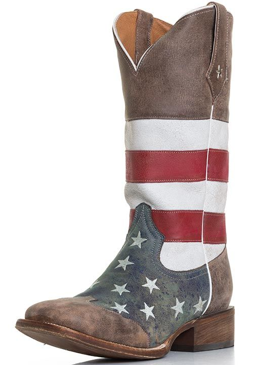 b966b3674fc Roper Men s American Flag Square Toe Cowboy Boots - Brown Red White and  Blue  199.00