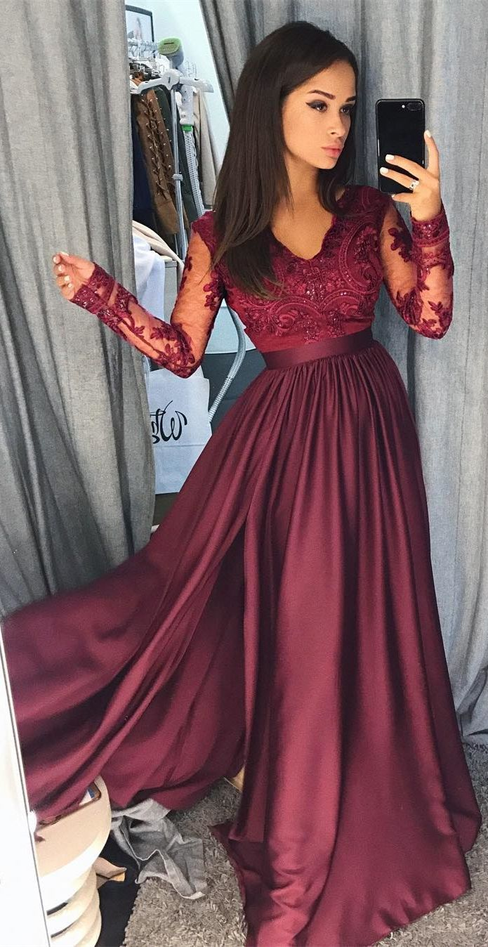 Aline vneck long sleeves burgundy prom dress with appliques lace