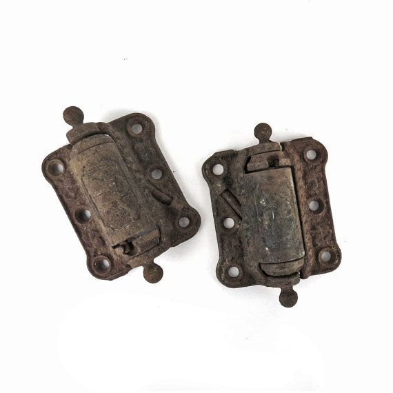 2 Antique Cast Iron Hinges. Spring Loaded Hing By DrVintage