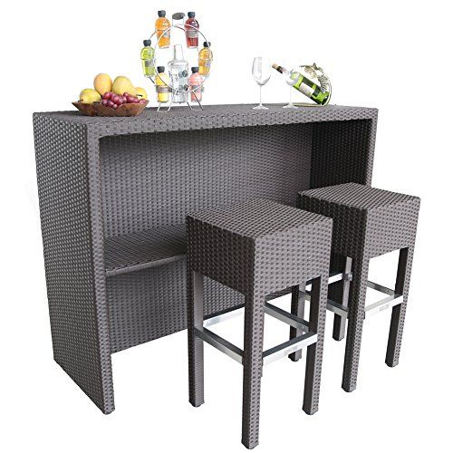 Abba Patio 3 Pc Outdoor Wicker Bar Set Furniture With 1 Table And 2