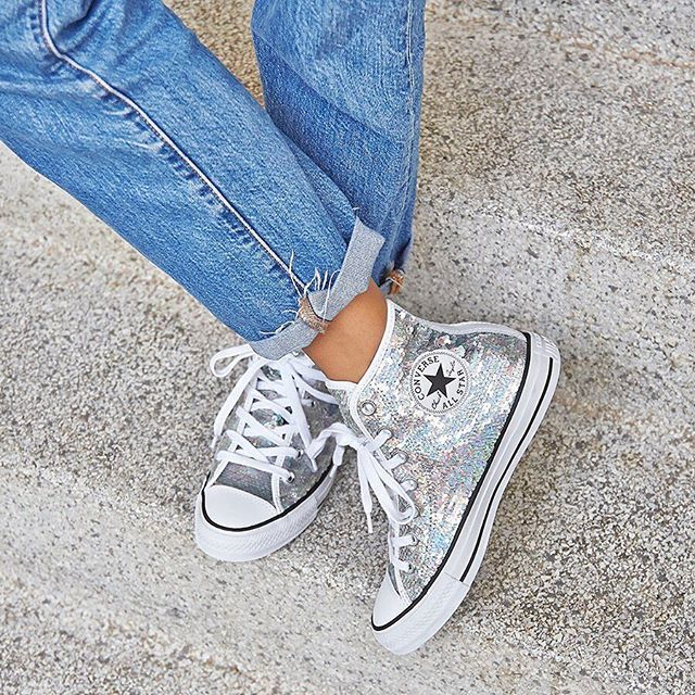 54883ccd07909c Because who doesn t love a  sequin!  Shop our  converse All Star Hi  Trainers in Silver White Sequin straight from our bio.  converse  newin