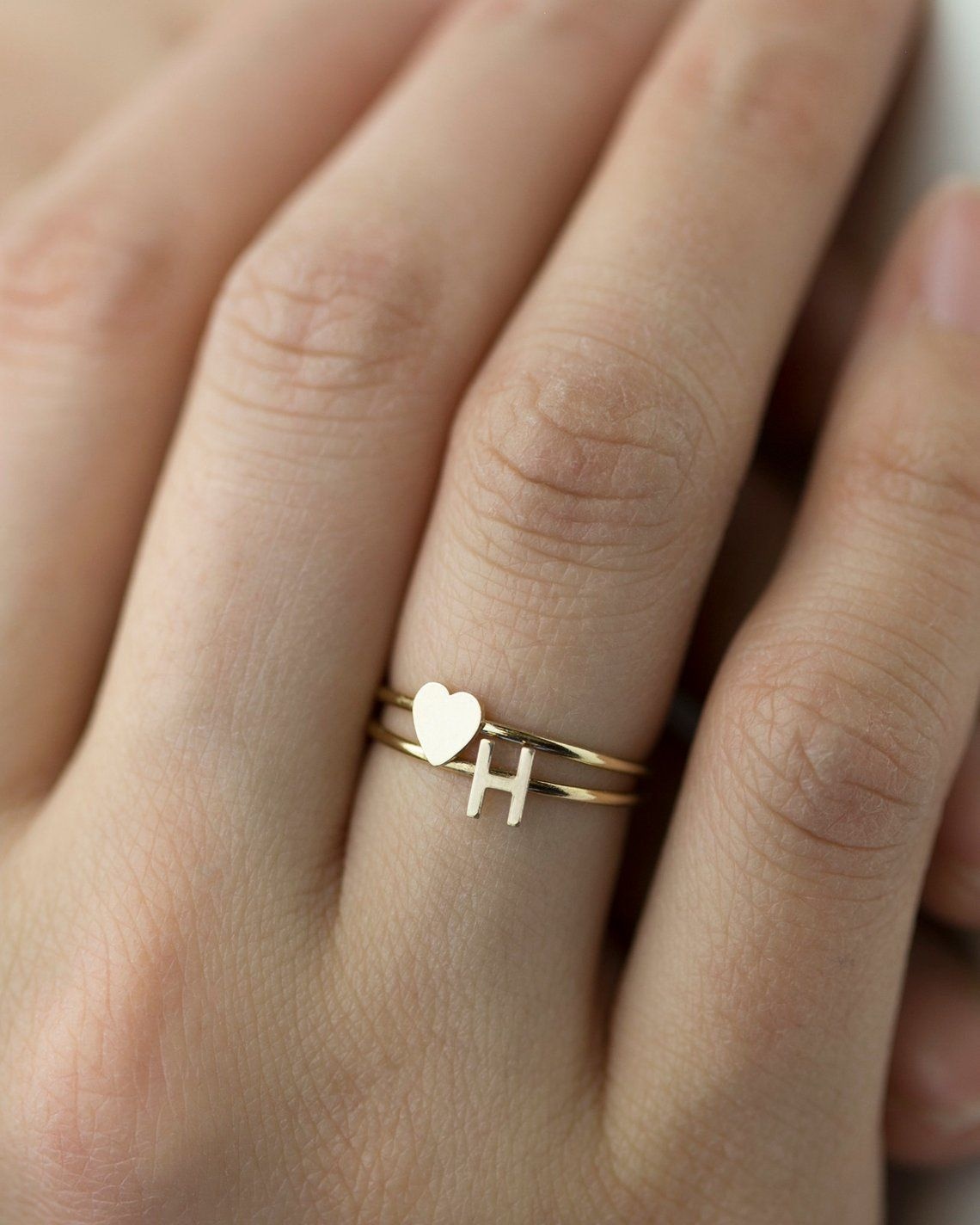 14k Letter Ring In 2020 Gold Rings Jewelry Gold Rings Gold