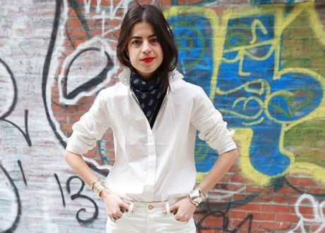 If Leandra Medine has taught us anything this year then it is how to rock a neck scarf. Tie in a triangle (cowgirl style), add a crisp white shirt and go. Photo: Lucky Magazine #MicroTrend #GiftLyst
