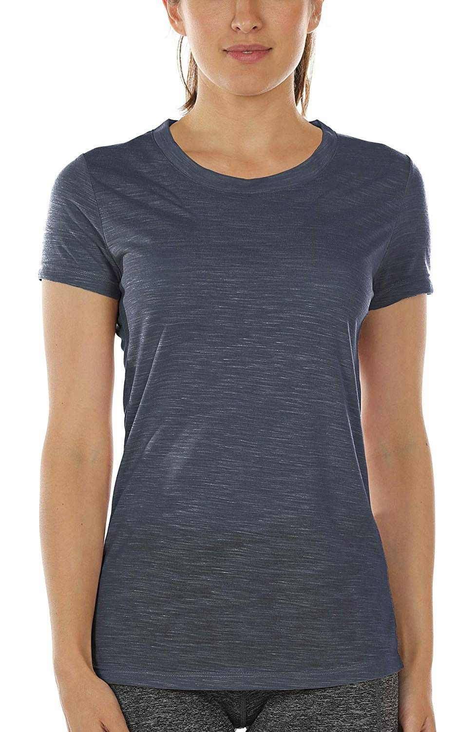 Workout Shirts for Women - Yoga Tops Gym Clothes Running Exercise Athletic T-Shirts for Women - Navy...